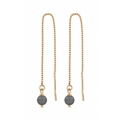 Earrings rose gold grey pearl - 1057