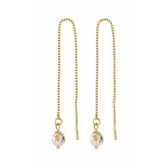 Durchzieher Ohrringe goldfarbig Kristall - 1066