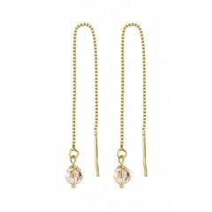 Durchzieher Ohrringe goldfarbig Kristall - Silber vergoldet - 1066