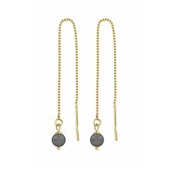 Earrings grey pearl - silver gold plated - 1082