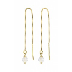 Earrings transparent crystal - silver gold plated - 1063