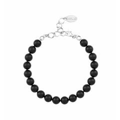 Perlenarmband schwarz - Silber - 1085