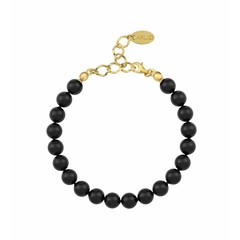 Pearl bracelet black - silver gold plated - 1086