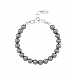 Parel armband grijs - 925 zilver - 1107