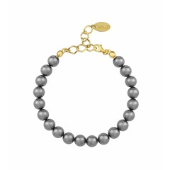 Pearl bracelet grey - silver gold plated - 1108