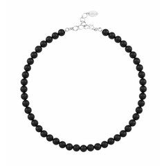 Pearl necklace black - silver - 1110