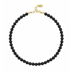 Pearl necklace black - silver gold plated - 1111