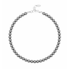 Pearl necklace dark grey 8mm - silver - 1163