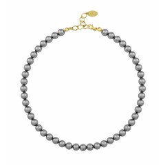 Pearl necklace dark grey - silver gold plated - 1164