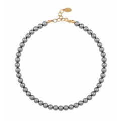 Pearl necklace dark grey - silver rose gold plated - 1165