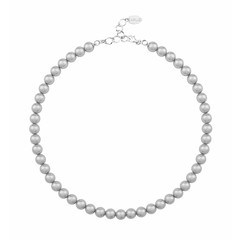 Perlenhalskette grau 8mm - Silber - 1160