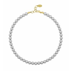 Pearl necklace grey 8mm - silver gold plated - 1161
