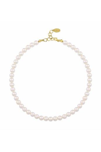 Perlenhalskette weiß - 925 Silber 24K vergoldet - ARLIZI 1156 - Noa - 8mm