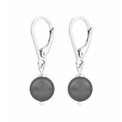 Ohrringe graue Perle - 925 Silber - 1198