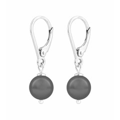 Ohrringe graue Perle - Sterling Silber - 1198