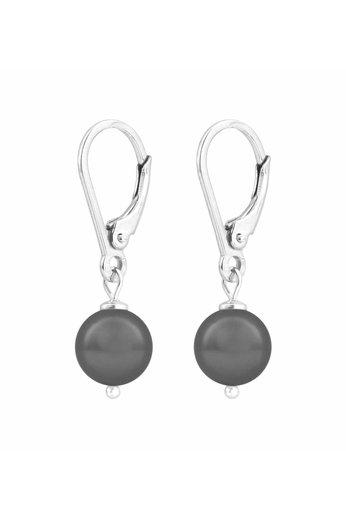 Ohrringe dunkelgraue Perle 8mm - Silber - ARLIZI 1198 - Noa