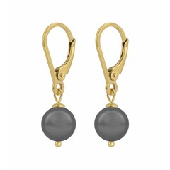Earrings grey pearl - gold plated silver - 1200
