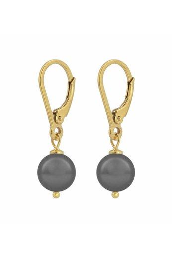 Ohrringe dunkelgraue Perle 8mm - Silber vergoldet - ARLIZI 1200 - Noa