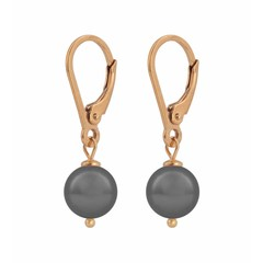 Earrings grey pearl - silver rose gold plated - 1202