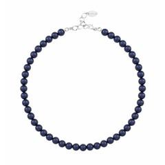 Parelketting blauw - 925 zilver - 1166