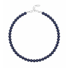 Pearl necklace blue 8mm - silver - 1166
