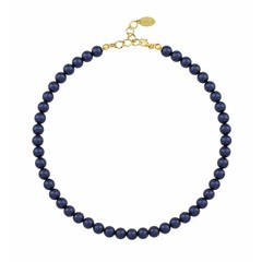 Pearl necklace blue - silver gold plated - 1167