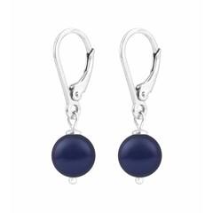 Oorbellen blauwe parel - zilver - 1214