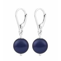 Oorbellen blauwe parel - zilver - 1215
