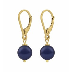 Earrings blue pearl - gold plated silver - 1216