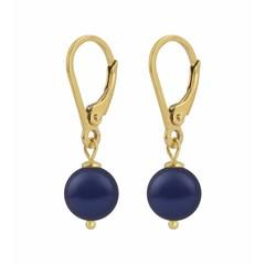 Ohrringe blaue Perle - Silber vergoldet - 1216