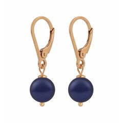 Earrings blue pearl - rose gold plated silver - 1218