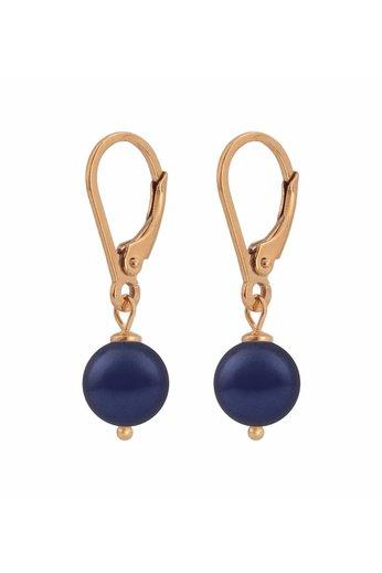 Ohrringe dunkelblaue Perle 8mm - Silber rosé vergoldet - ARLIZI 1218 - Noa