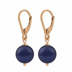 Earrings blue pearl - silver rose gold plated - 1219