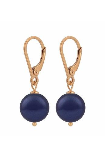 Ohrringe dunkelblaue Perle - 925 Silber 18K rosé vergoldet - ARLIZI 1219 - Noa
