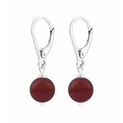Earrings red pearl - silver - 1220