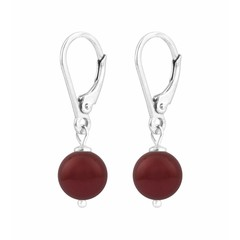 Earrings red pearl - sterling silver - 1220