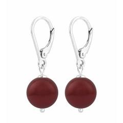 Earrings red pearl - silver - 1221