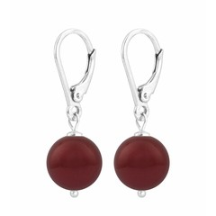 Ohrringe rote Perle - 925 Silber - 1221