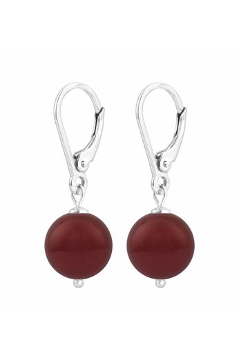 Ohrringe dunkelrote Perle - 925 Silber - ARLIZI 1221 - Noa