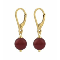 Earrings red pearl - silver gold plated - 1222