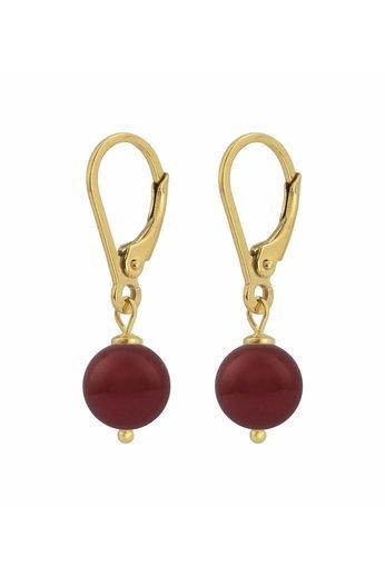 Ohrringe dunkelrote Perle 8mm - Silber vergoldet - ARLIZI 1222 - Noa