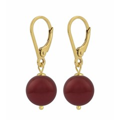 Earrings red pearl - silver gold plated - 1223