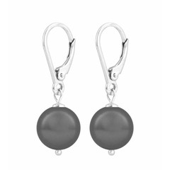 Earrings grey pearl - sterling silver - 1199