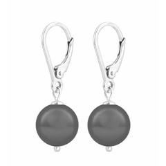 Ohrringe graue Perle - 925 Silber - 1199