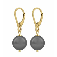 Earrings grey pearl - silver gold plated - 1201