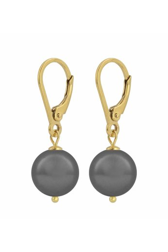 Ohrringe dunkelgraue Perle 10mm - Silber vergoldet - ARLIZI 1201 - Noa
