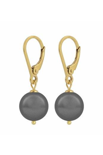 Ohrringe dunkelgraue Perle - 925 Silber 24K vergoldet - ARLIZI 1201 - Noa