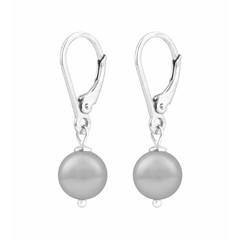 Earrings light grey pearl - 925 silver - 1204