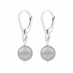 Ohrringe hellgraue Perle - 925 Silber - 1204