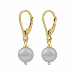 Earrings light grey pearl - silver gold plated - 1206